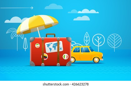 Travel bag vector illustration. Vacation concept. Retro car vacation