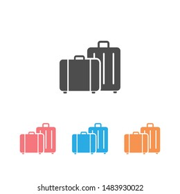 Travel, baggage, tourism, luggage, airport vector icon set