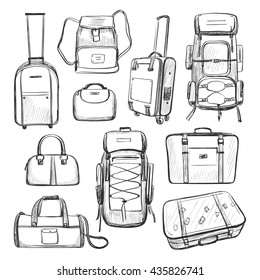 Travel bags. A collection of sketches isolated on white background.