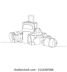 Travel bags are drawn by one black line on a white background. One-line drawing. Continuous line. Vector Eps10
