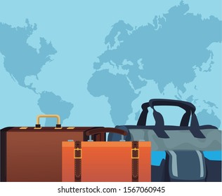 travel bags icon over blue world map background, colorful design , vector illustration