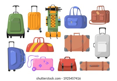 Travel bags set. Plastic and metal suitcases with wheels for children or adults, trekking backpacks. Vector illustration for tourism, luggage, baggage, tour concept
