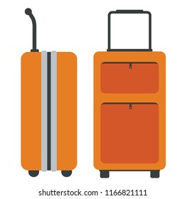 Travel Bags with side and front view. Flat color style. Vector illustration.