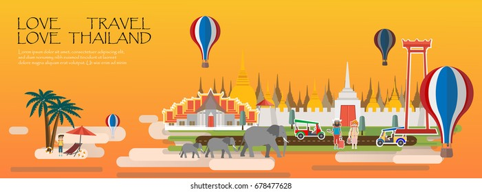 Travel Bangkok Thailand Infographic.Travel infographic .