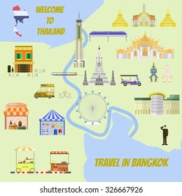 Travel Bangkok.Temple, Skyline, Street food, Street night, Street shopping, Street market, Tuk Tuk, City Mall, Boat river culture