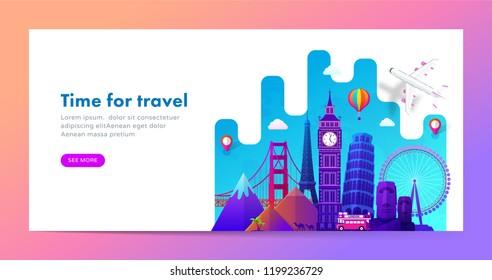 Travel banner design with famous landmarks in modern gradient style for travel or tourism website. Vector illustration