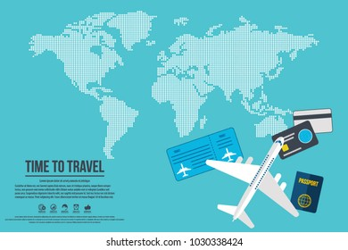 Travel banner design. Vacation business trip offer concept. Vector tourist illustration with passport, credit cards,ticket, airplane and dotted world map. Travel background.