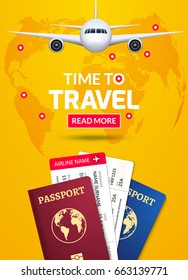Travel banner design. Vacation business trip offer concept. Vector tourist illustration with passport, ticket, airplane. Travel background.