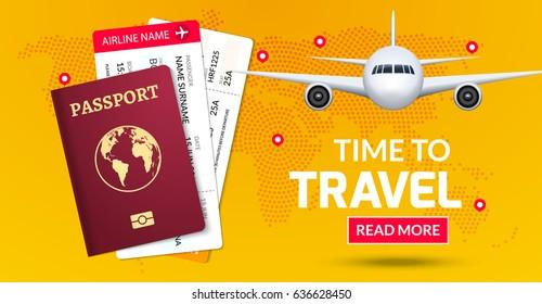 Travel banner design. Vacation trip offer concept. Vector tourist illustration with passport, ticket, airplane. Travel background.