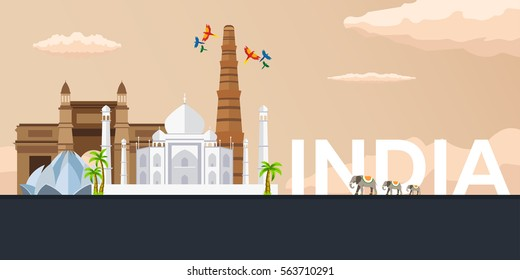 Travel banner to India. Vector flat illustration