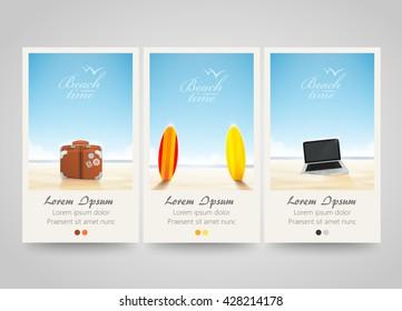 Travel banner set with surf, laptop, bag. Poster, flyer or ticket design. Beach background. Freelance or vocation. Vector illustration