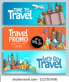 Travel banner set vector template design with travel and tour text and world's famous landmarks and tourist destinations elements in colorful background. Vector illustration.