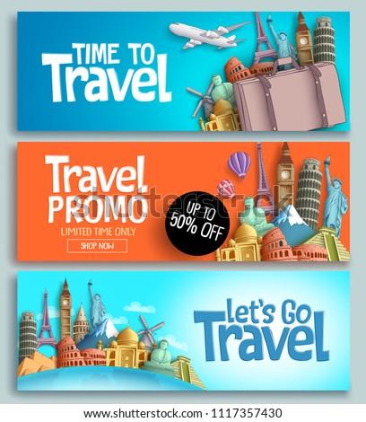 travel banner set vector template design のベクター画像素材
