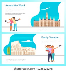 Travel banner template design set with travellers, Coloseum Roma and City Hall in Vienna Austria. Vector illustration eps 10
