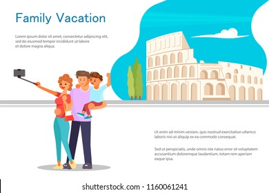 Travel banner template design with travellers, Coloseum and tour text. Vector illustration eps 10