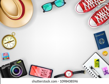 Travel Banner Template Top View with Space for Text Including Realistic 3D Items for Travelling Like Backpack, Sneakers, Mobile Phone, Passport and Sunglasses in Isolated White Background. Vector
