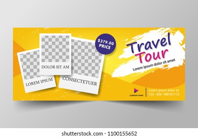 Travel banner for website with photos frame