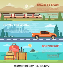 Travel banners set in flat style. Elements for the design of the website, illustrations and business concept. Train, car, luggage
