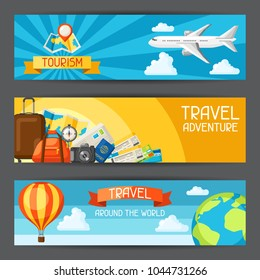 Travel banners. Traveling backgrounds with tourist items.