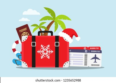 Travel to the beach in Christmas holiday. Vector illustration