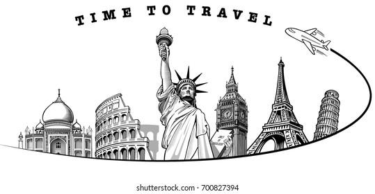 travel to Big Ben London, Eiffel tower Paris, Roma Colloseum, Pisa, Statue of liberty NYC, Taj Mahal