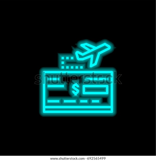 Travel blue glowing neon ui ux icon. Glowing sign logo vector