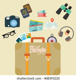 travel bon voyage baggage leather suitcase object carry like camera passport map and ticket