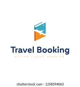 Travel booking logo, online ticket booking