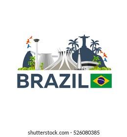 Travel to Brazil, skyline. Vector illustration