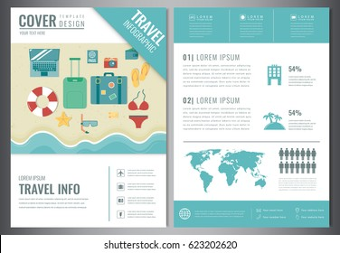 travel brochure design template for travel and tourism concept vector illustration