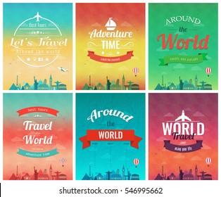 Travel brochure with world landmarks. Template of magazine, poster, book cover, banner, flyer. Vector illustration