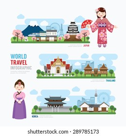 Travel and Building asia Landmark korea, japan, thailand Template Design Infographic. Concept Vector Illustration