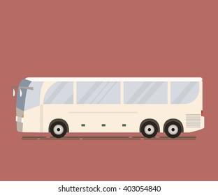 Travel bus flat design. Public transport vehicle intercity longer distance tourist coach bus. Vector illustration of tourist bus isolated