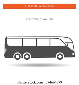 Travel bus flat style icon,isolated,vector,illustration.