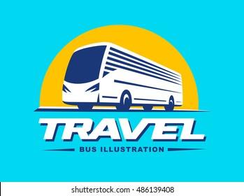 Travel bus illustration on blue background