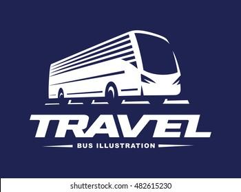 Travel bus illustration on dark background