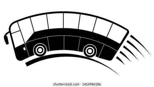 Travel bus illustration, speed motion, black silhouette
