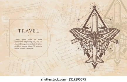 Travel. Butterfly and air plane. Renaissance background. Medieval manuscript, engraving art