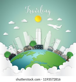 Travel by airplane over modern buildings cityscape and houses on green world in the morning as business, nature, eco and love earth day concept. vector illustration of paper art and craft style.