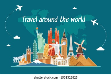 Travel by airplane. World Travel. Planning summer vacations. Tourism and vacation theme.