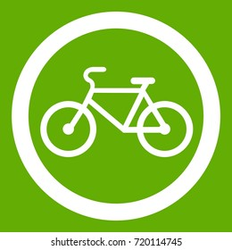 Travel by bicycle is prohibited traffic sign icon white isolated on green background. Vector illustration