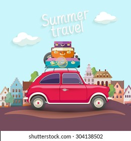 "Travel by car. Flat design with text ""Summer travel"""