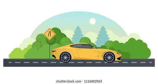 Travel by car, planning summer vacations. Trip on a sports car on a country road. Sign of narrowing and road way, direction of movement on asphalt route, highways, ascents, turns. Vector illustration.
