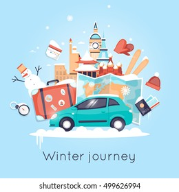Travel by car Russia, USA, Japan, France, England, Italy. World Travel. Planning winter vacations. Winter holiday. Tourism and vacation theme. Flat design vector illustration.
