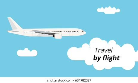 Travel by flight concept. Plane on a blue sky background