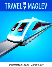 Travel by maglev blue modern poster