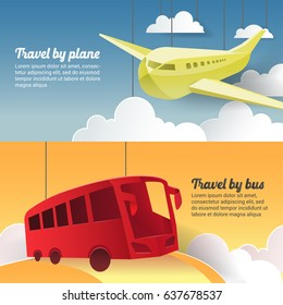 Travel by Plane and Bus. Paper Cut Out Tourism Banner. Vector illustration