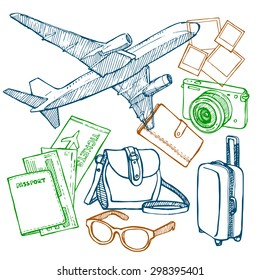 Travel. Travel by plane. Flight tickets, drawing, sketch, vector.