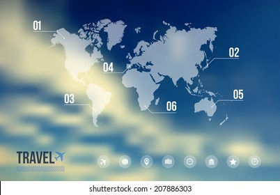 Travel by plane infographic, world map and icons vacation over sky blue blurred effect background. EPS10 vector file with transparency layers.