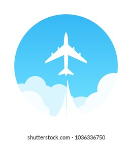 Travel by Plane, Vector Emblem in flat style